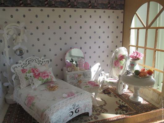 """Кукольный дом ручной работы. Ярмарка Мастеров - ручная работа. Купить Комната-спальня """" Изящная Нежность"""" Для кукол до 14 см. Handmade."""