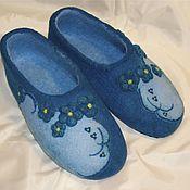 """Обувь ручной работы. Ярмарка Мастеров - ручная работа Тапочки валяные """"Незабудки"""". Handmade."""