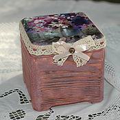 Для дома и интерьера handmade. Livemaster - original item A small box with an array of cedar Bouquet of cosmos. Handmade.