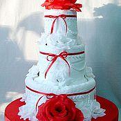 """Свадебный салон ручной работы. Ярмарка Мастеров - ручная работа Торт из полотенец  """"Красное и Белое"""". Handmade."""