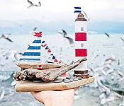 """Для дома и интерьера ручной работы. Ярмарка Мастеров - ручная работа Морская композиция """"На свет маяка"""" driftwood. Handmade."""