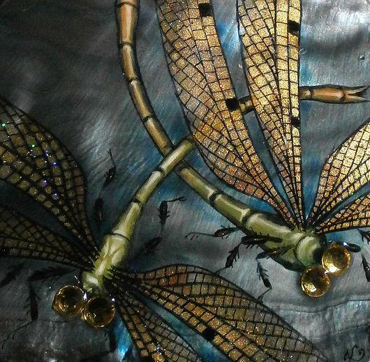 """Кулоны, подвески ручной работы. Ярмарка Мастеров - ручная работа. Купить """"Златокрылый танец"""" кулон. Handmade. Стрекозы, ручная роспись"""