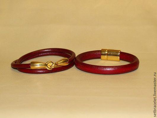 Браслеты ручной работы. Ярмарка Мастеров - ручная работа. Купить Кожаные женские браслеты из кожи бордовой: круглый шнур 5мм, регализ. Handmade.