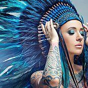 Аксессуары handmade. Livemaster - original item Indian headdress - Blue Lagoon. Handmade.