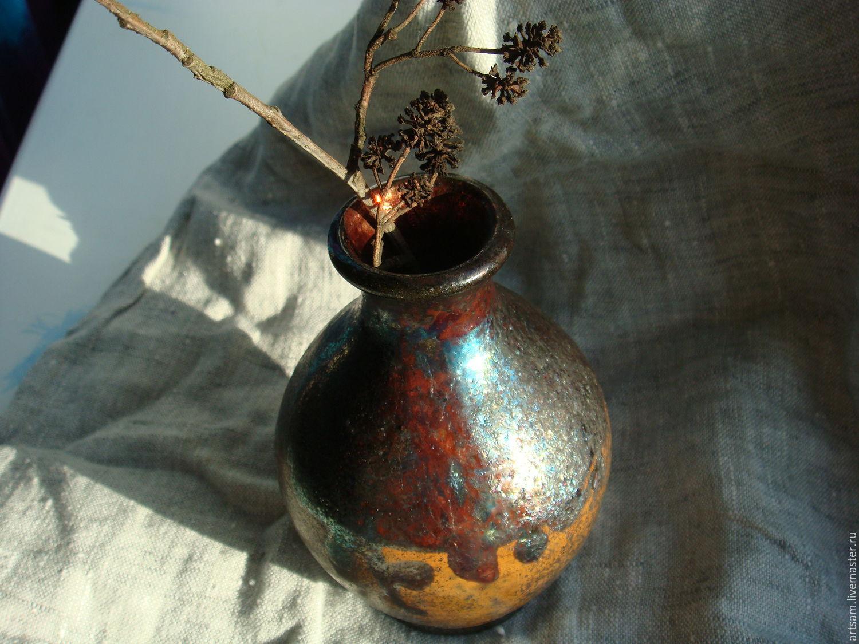 """Керамика Раку. Ваза """"Маленький Вулкан"""". Для дома и интерьера"""