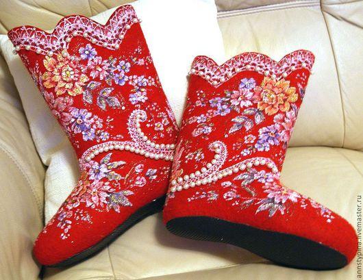 Обувь ручной работы. Ярмарка Мастеров - ручная работа. Купить под платок 6. Handmade. Ярко-красный, валенки, войлок