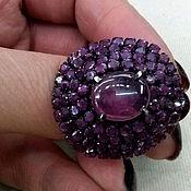Украшения handmade. Livemaster - original item ring silver 925, black rhodium, genuine rubies. Handmade.