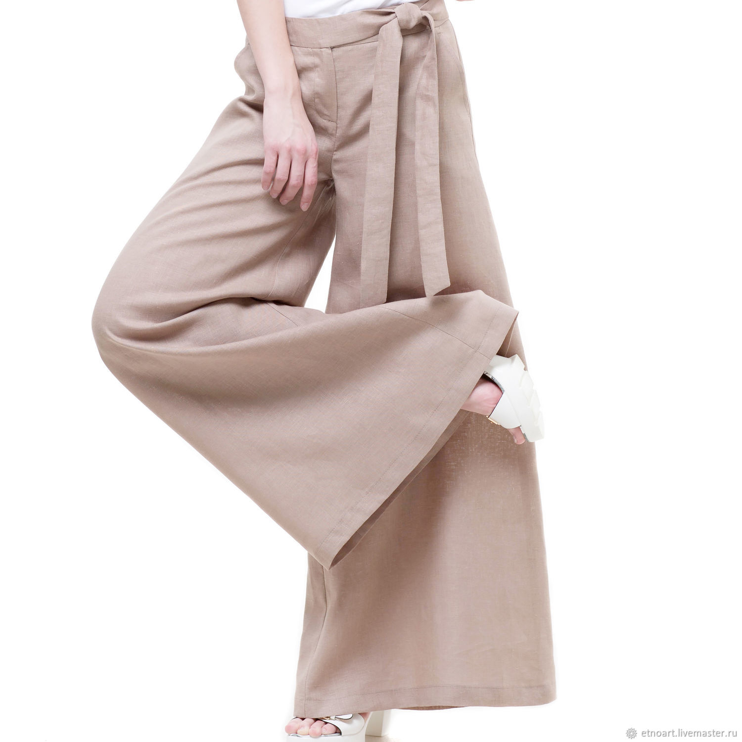 Beige Palazzo pants made of 100% linen, Pants, Tomsk,  Фото №1