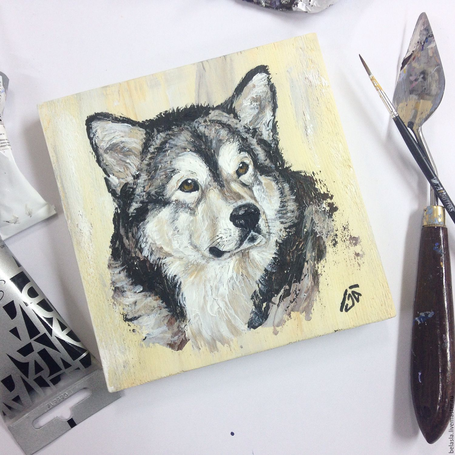 Animal Painting handmade. Livemaster - handmade. Buy Portrait Pet painting on wood.Grey, painting in the nursery