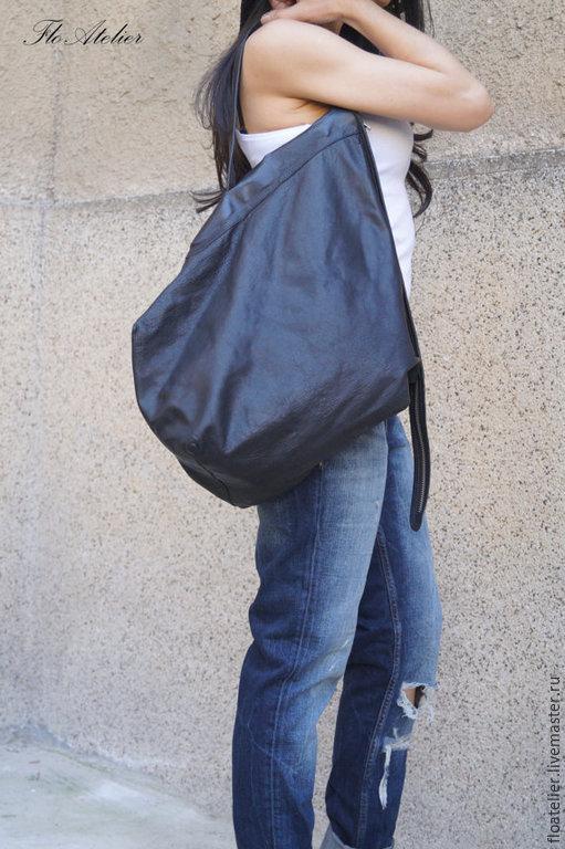 Женские сумки ручной работы. Ярмарка Мастеров - ручная работа. Купить Новая большая кожаная сумка с мягким мешком/F1462. Handmade.