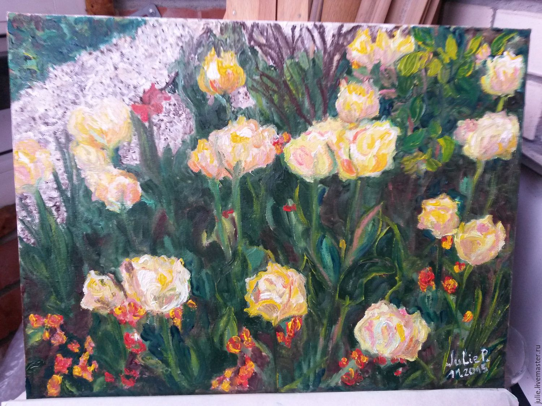 Картины цветов ручной работы. Ярмарка Мастеров - ручная работа. Купить Тюльпаны Живерни. Handmade. Цветы, тюльпаны, разноцветный, сад
