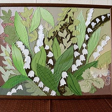 """Картины и панно ручной работы. Ярмарка Мастеров - ручная работа Тексильное панно """"Ландыши"""". Handmade."""