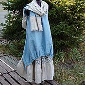 Одежда ручной работы. Ярмарка Мастеров - ручная работа №165.1 Льняной сарафан+юбка+шарф. Handmade.