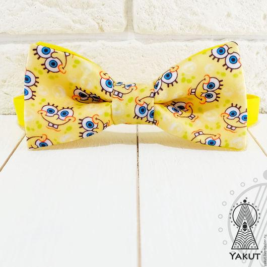 Галстуки, бабочки ручной работы. Ярмарка Мастеров - ручная работа. Купить Галстук бабочка Губка Боб / бабочка-галстук Спанч Боб желтая. Handmade.