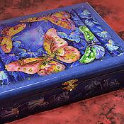 """Для дома и интерьера ручной работы. Ярмарка Мастеров - ручная работа Шкатулка большая """"Бабочки на синем"""". Handmade."""