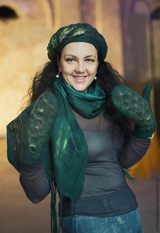 """Комплекты аксессуаров ручной работы. Ярмарка Мастеров - ручная работа. Купить Комплект """"Малахитовый"""". Handmade. Тёмно-зелёный, шарф женский"""