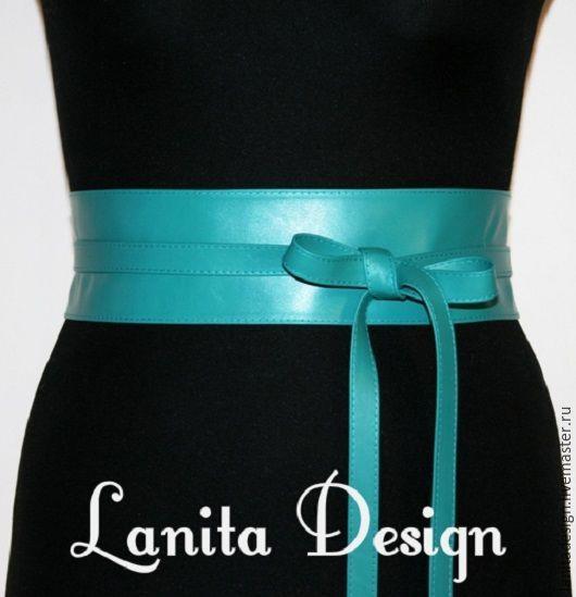 """Пояса, ремни ручной работы Lanita Design. Кожаный пояс кушак """"Бирюза Little""""."""