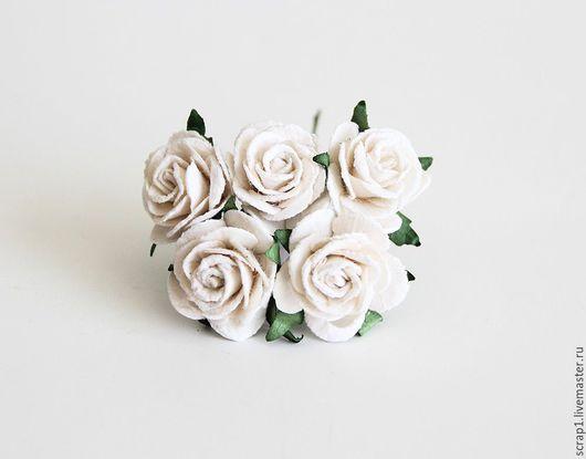 Открытки и скрапбукинг ручной работы. Ярмарка Мастеров - ручная работа. Купить Розы 2,5 см .Белые. 5шт.!. Handmade.