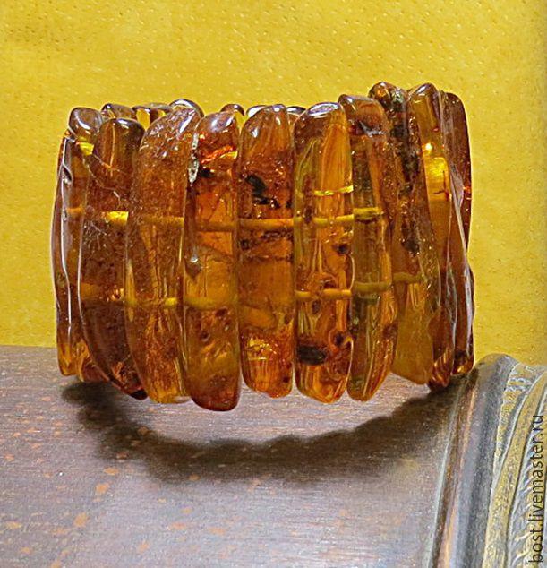 Широкий красивый браслет из природного янтаря, Браслет из бусин, Иерусалим,  Фото №1