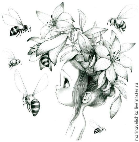 """Вышивка ручной работы. Ярмарка Мастеров - ручная работа. Купить Схема для вышивки крестом """"Девочка и пчелы"""".. Handmade. Серебряный, мулине"""