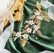 Свадебный салон ручной работы. Ярмарка Мастеров - ручная работа Гребень для свадебной прически, веточка с цветами для прически. Handmade.