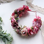 Украшения ручной работы. Ярмарка Мастеров - ручная работа Ободок с цветами нежно-розовый. Handmade.
