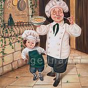 """Картины ручной работы. Ярмарка Мастеров - ручная работа Дизайн интерьера кухни. Картина маслом """"Buon Appetito!"""". Handmade."""
