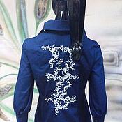 """Одежда ручной работы. Ярмарка Мастеров - ручная работа Роскошная блузка с вышитой спинкой """"Синее серебро"""" в любом цвете, разм. Handmade."""