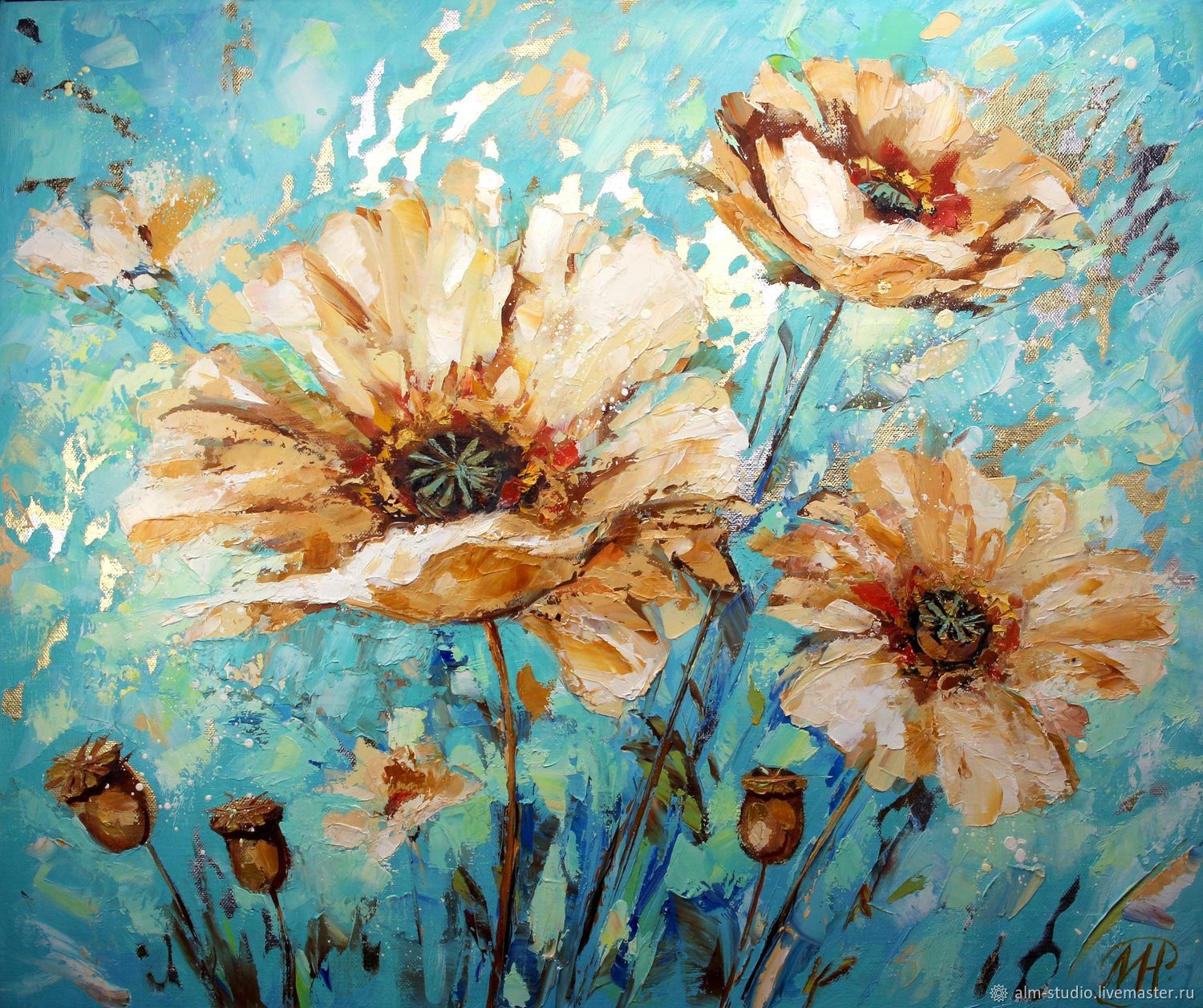 White poppies-oil on canvas, potal 50*60 cm, Pictures, Obninsk,  Фото №1