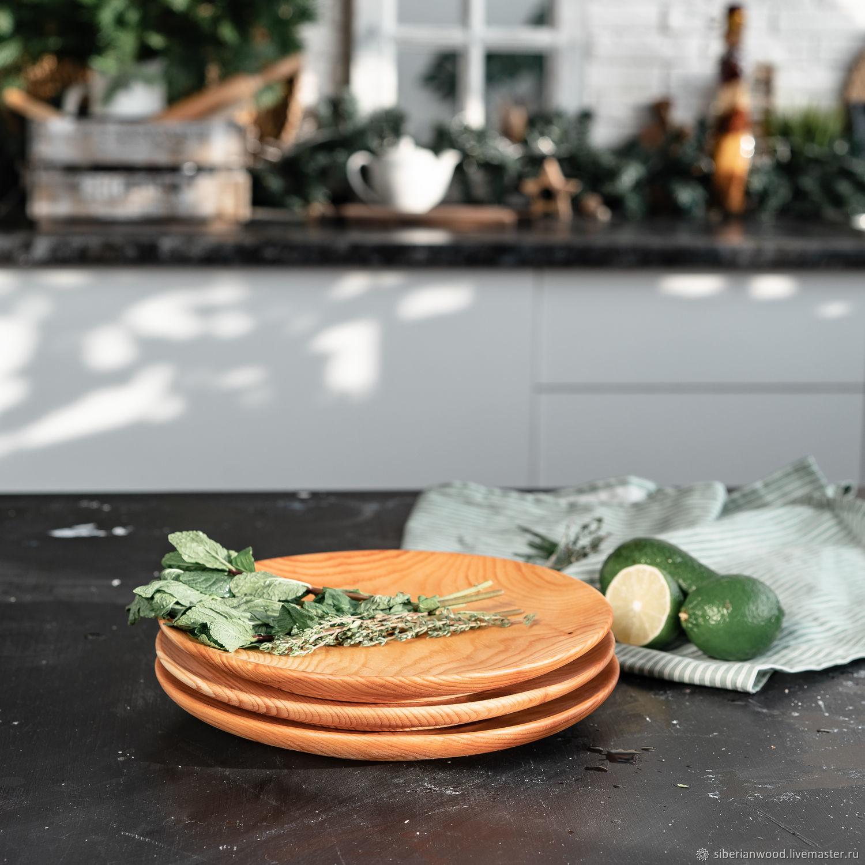 Set of wooden plates made of Siberian Cedar 250 mm TN53, Dinnerware Sets, Novokuznetsk,  Фото №1