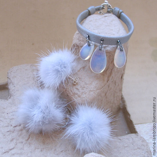 Fuzzies and moon stone jewelry set, Jewelry Sets, Moscow,  Фото №1