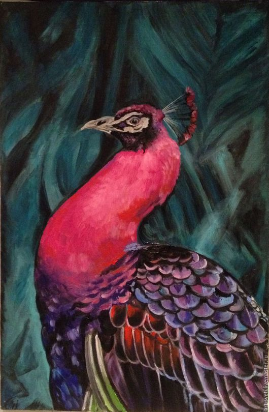 """Животные ручной работы. Ярмарка Мастеров - ручная работа. Купить """"розовый павлин"""". Handmade. Фуксия, павлин, павлиний хвост"""