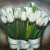 """Картины и панно ручной работы. Ярмарка Мастеров - ручная работа """"Белые тюльпаны"""". Handmade."""