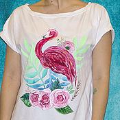 Одежда handmade. Livemaster - original item T-shirt Flamingo hand painted. Handmade.
