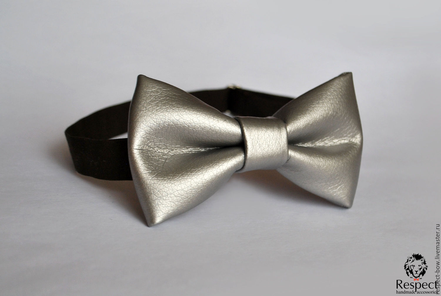 Tie Silver / leather bow tie silver, leatherette, Ties, Moscow,  Фото №1