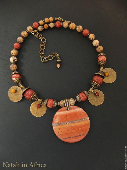 """Колье, бусы ручной работы. Ярмарка Мастеров - ручная работа. Купить Колье """"Жаркие пески"""" - яшма песочная, красная яшма. Handmade."""