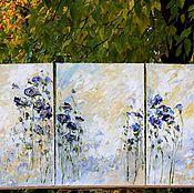 Комплект из трех картин маслом триптих цветы горный перевал синие розы