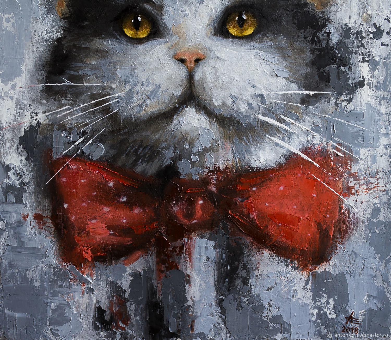 новогодние коты картинки маслом