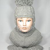 Работы для детей, ручной работы. Ярмарка Мастеров - ручная работа Комплект: шапка-шлем зимняя Пиончик и варежки вязаные, для девочек. Handmade.