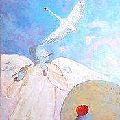 """Картины и панно ручной работы. Ярмарка Мастеров - ручная работа Картина маслом """"Созвездие Лебедь. Мелодия любви"""". Handmade."""