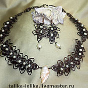 Украшения handmade. Livemaster - original item necklace and earrings made of copper and pearls, Beltain. Handmade.