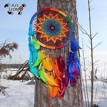 Feng Shui handmade. Livemaster - original item Large rainbow dream catcher, 78 cm. Handmade.