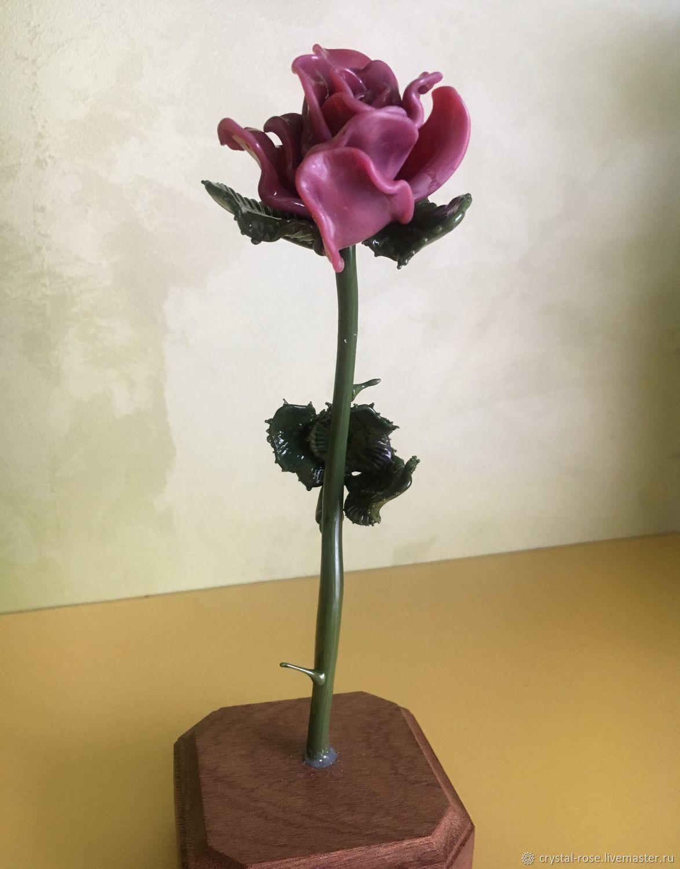 Розовая роза из богемского стекла, Композиции, Москва,  Фото №1
