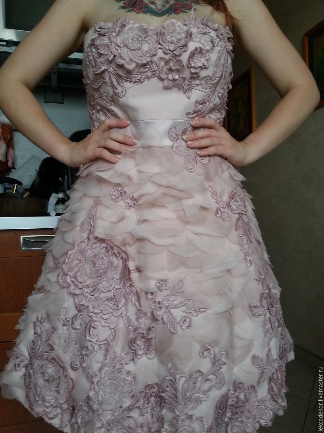 Layered, airy ball gown pale pink.