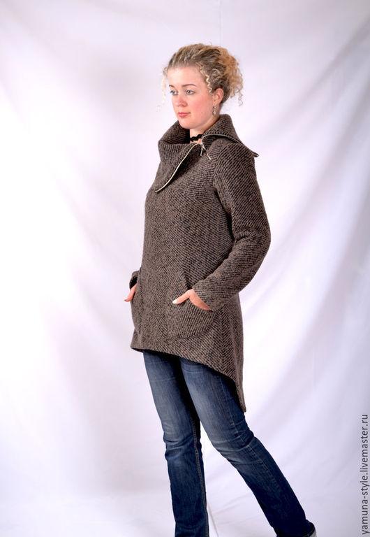 Верхняя одежда ручной работы. Ярмарка Мастеров - ручная работа. Купить Кардиган-пальто коричнево-черного цвета 80% шерсть.. Handmade.
