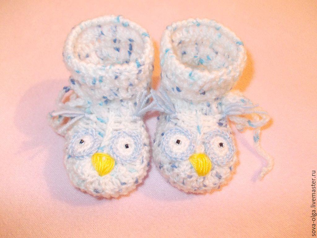 Купить вязаные пинетки для новорожденных ручной работы
