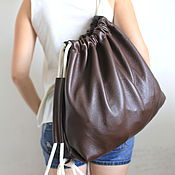 Сумки и аксессуары handmade. Livemaster - original item Chocolate Backpack Bag leather medium with pocket. Handmade.