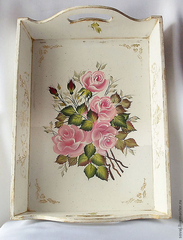 Tray shabby chic painted pink bouquet shop online on - Cuadros shabby chic ...