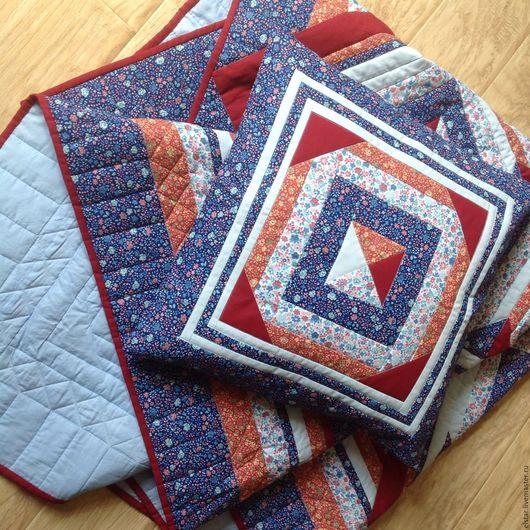 """Текстиль, ковры ручной работы. Ярмарка Мастеров - ручная работа. Купить Лоскутный комплект """"Традиция"""". Покрывало  и подушка.. Handmade. Комбинированный"""