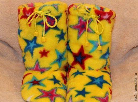 Обувь ручной работы. Ярмарка Мастеров - ручная работа. Купить Домашние сапожки из велсофта. Handmade. Комбинированный, сапожки женские